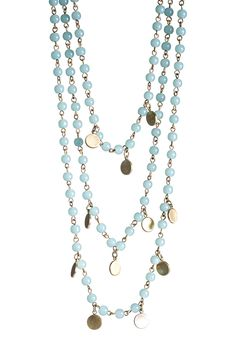 Blue Beaded Triple Strand Necklace