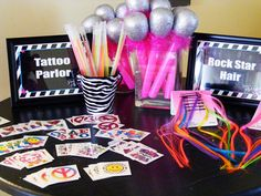 Tattoo and Rockstar Hair Station, Rockstar Birthday Birthday Party Ideas Rock And Roll Birthday, Dance Party Birthday, 9th Birthday Parties, 7th Birthday, Birthday Ideas, Paris Birthday, Disco Party, Glow Party, 90s Party