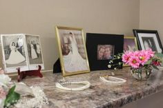 """""""My mom and in-laws planned my shower with the theme of """"weddings through the ages."""" Part of the décor was old wedding albums and dresses that guests. Wedding Albums, Wedding Frames, Wedding Outfits For Family Members, Grilling Gifts, Offbeat Bride, Old Frames, How To Make Tea, Practical Gifts, Unusual Gifts"""