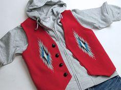 オルテガ 手織りチマヨ・ベスト 83RG-38332 サイズ38 スカーレットレッド ウール100% アメリカ製