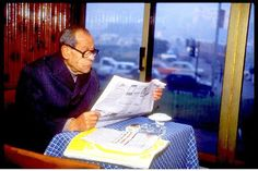 Naguib Mahfouz at his favorite table at Ali Baba Cafe where he wrote every day and made himself available to chat.