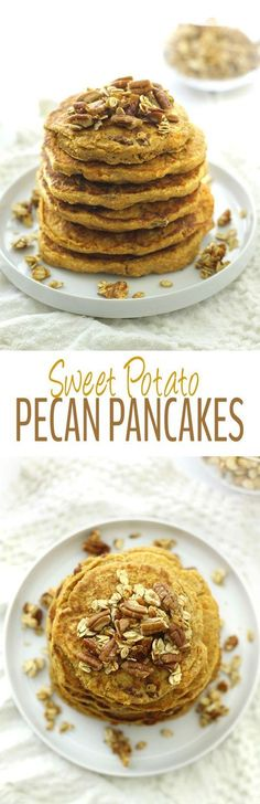 Make your mornings a little sweeter with these fluffy Sweet Potato Pecan Pancakes. They're healthy and gluten-free with the added bonus of sweet potato!