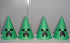 Minecraft birthday party hats set of 8 by TheCutesyShelf on Etsy