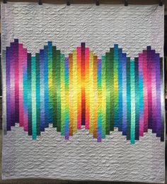 WAVELENGTH Modern throw quilt in ombre cottons in a rainbow of color. RamekinQuilts on Etsy