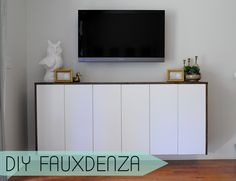 IKEA Hackers: DIY Fauxdenza from Ikea Kitchen Cabinets (office wall cabinets ikea hacks) Office Wall Cabinets, Ikea Kitchen Cabinets, Kitchen Cabinet Storage, Console Cabinet, Kitchen Units, Small Living Room Design, Small Living Rooms, Home And Living, Living Area