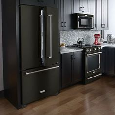 Following the announcement of the limited edition black matte standing mixer, Benton Harbor-based KitchenAid today announced the expansion of its line of black stainless major appliances to include several new built-in and freestanding ranges and refrigerators. Originally launched in 2015, the collection will feature a total of 54 appliance models by the end of summer, including refrigerators, wall ovens, ventilation hoods, dishwashers, under-counter beverage centers, and more.