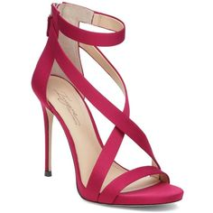 Imagine Vince Camuto Devin Satin High Heel Ankle Strap Sandals ($110) found on Polyvore featuring women's fashion, shoes, sandals, heels, deep berry, cocktail shoes, ankle strap sandals, ankle tie sandals, holiday shoes and evening sandals