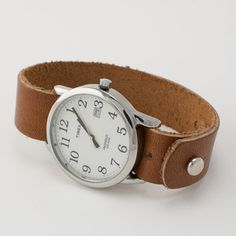 button-stud easy reader leather watch band