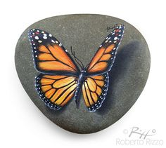 This Monarch Butterfly Looks Really Resting on a Rock! A Great Gift Idea for all of you, Nature Lovers!  My painted stones are unique pieces of art. I paint all of them on smooth sea rocks with high quality acrylics and very small brushes. They may be used as a paper-weight to cheer up your desk, lucky charms, decoration for furniture and gardens or whatever you desire.  They are FINELY DETAILED, protected with a strong transparent varnish coat, signed on the back and accompanied by a…