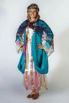 Baggy trousers (Awal-krass) are worn under the dress (Krass). Jli Kurdi, Rajputi Dress, Baggy Trousers, Shiny Fabric, Indian Textiles, White Chiffon, Gold Pattern, Folk Costume, Fabric Manipulation