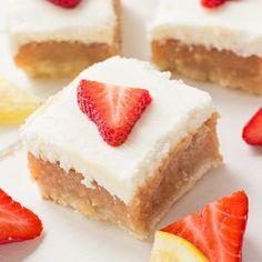 A recipe for Lemon Pie Bars. An easy dessert recipe made with Pillsbury Pie Crust, lemon pudding and Cool Whip. Strawberry Shortcake Bar Recipe, Strawberry Recipes, Just Desserts, Dessert Recipes, Bar Recipes, Lime Desserts, Lemon Recipes, Dessert Ideas, Appetizer Recipes