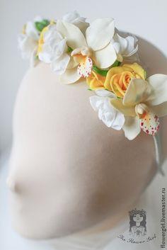 Ободочек+`+Солнечной+невесты`.+Свадебный+обруч+с+орхидеями+и+солнечными+розами,белыми+фрезиями.+++++Ободочек+из+комплекта++…