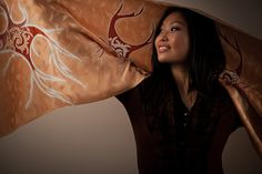Silk Shawl brown beige cream Hand Painted Silk Scarf  Hand Dyed by BorneoBatikraft