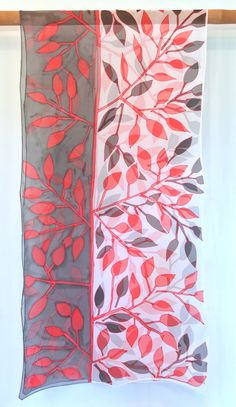 Hand Painted Silk Shawl ETSY Red and Black by SilkScarvesTakuyo