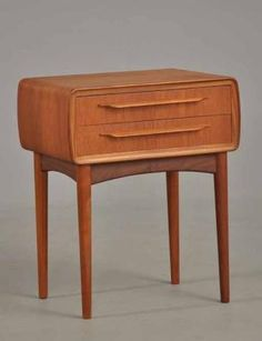 Danish teak  bedside table, amazing organic lines. Designed by Johs andersen and made by CFC of Denmark.