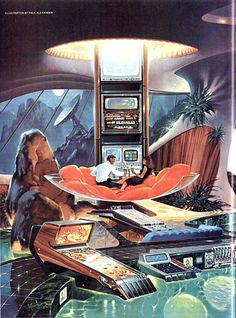 This moonbase room has it all: Glass clam shell couch in front of a central stack entertainment center (presumably it slides up and down depending on your preferences) and a pool with access to pinball and other electronics.
