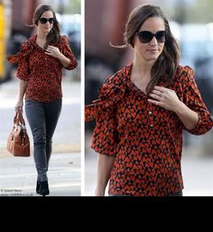 Pippa is styled perfectly in the Pussy Bow forties blouse 'papped' on the Kings Road 2011 x