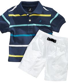 Nautica Baby Set, Baby Boys Stripe Polo and Shorts Set - Kids Baby Boy months) - Macy's Baby Outfits, Outfits Niños, Little Boy Outfits, Toddler Outfits, Kids Outfits, Cute Baby Boy, Baby Boy Swag, Baby Boys, Toddler Girls
