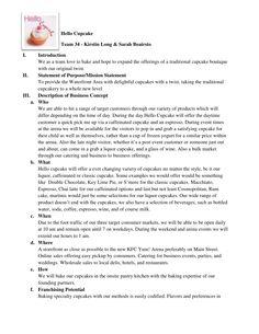 hello cupcake executive summary by kirstin long via slideshare business plan example sample business plan