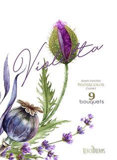 Watercolor Violet Poppy Lavender purple flowers handpainted Flower Mandala, Flower Art, Watercolor Print, Watercolor Paintings, Watercolor Wedding, Watercolours, Clip Art, Plant Drawing, Aesthetic Drawing