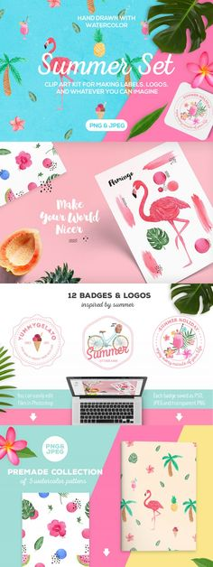 Flamingo, pineapple and summer patterns, graphics and logos