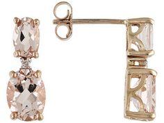 Cor-de-rosa Morganite(Tm) 3.00ctw Oval With Diamond Accent 10k Rose Gold Earrings Erv $263.00
