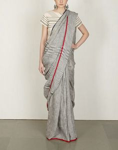 Charcoal Tie & Dye Sari : Anavila Pinned by Sujayita