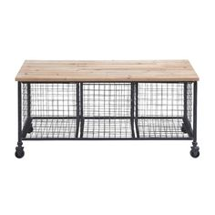 Woodland Imports Metal Storage Entryway Bench & Reviews | Wayfair