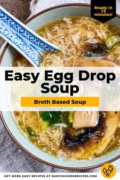 Egg Drop Soup is a healthy Chinese broth based soup recipe that takes about 15 minutes from pantry to table for a quick & easy dinner. Eggs, chicken broth, cornstarch, and green onions come together for a delicious meal. #souprecipe #easydinner #eggdropsoup #weeknightmeal Asian Chicken Recipes, Asian Recipes, Weeknight Meals, Easy Meals, Healthy Chinese, Egg Drop Soup, Boiled Chicken, Quick Easy Dinner, Green Onions