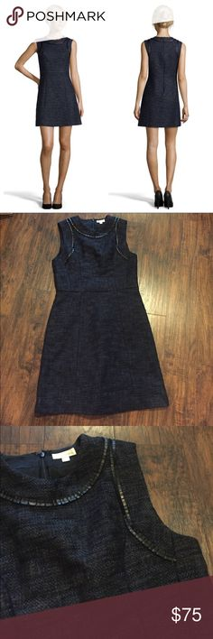 """•Shoshanna• Midnight Blue Tweed Abbie Dress Shoshanna Midnight Blue Tweed Jacquard Abbie Fit and Flare Dress in Excellent Used Condition. Lined. Faux Leather Details Around the Neckline. Waist Measures Approximately 15"""", Hips 18"""", Length 35"""" Shoshanna Dresses"""