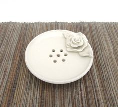 Soap Dish with Drip Tray Hand Made Ceramic by SarahWhyteCeramics
