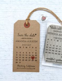 Save the Date Calendar. UK rubber stamp. Wedding by Oldtindrum