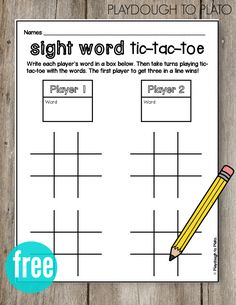 Grade A fun literacy center or sight word game for kids. Students use sight words as tic-tac-toe pieces and play against classmates. Great for repetition and learning how to spell sight words. Teaching Sight Words, Sight Word Practice, Teaching Letters, Sight Word Activities, Sight Word Wall, Sight Word Bingo, Sight Word Worksheets, Spelling Practice, First Grade Sight Words