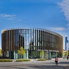 """How does everyone like the newer Chinatown Branch library?   """"The building's south-facing entrance, softened triangular shape, and gentle interior circulation reference Feng Shui design principles and resonate with the values held by the community.""""   Loving the interior flow - what do you think about the vertical spikes around the outside?"""