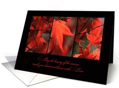 Thanksgiving Red Autumn Leaves Trio card