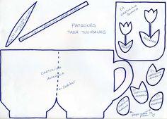 plantilla para elaborar la taza con lo.s tulipanes para el dia de la madre