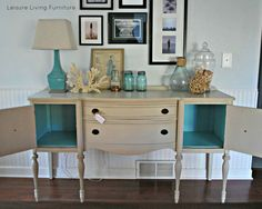 leisure living: Custom :: Buffet Annie Sloan Chalk Paint french linen + old white. Pop of Color