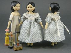 Tiny Milliners Model by Gail Wilson Blue Slippers, Doll Quilt, Tiny Dolls, Wooden Dolls, Doll Maker, Paper Models, Collector Dolls, Fabric Dolls, Antique Dolls