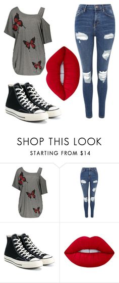 """"""""""" by nightmareplier on Polyvore featuring Topshop, Converse and Lime Crime"""