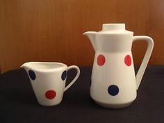 Vtg Mid Century Mod Polka Dot Tea Pot Creamer Set German Cora Kitsch Retro 50s | eBay