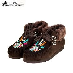 Montana West Moccasins Coffee Tribal Lined Rubber Soles Sizes 6, 7, 8, 9, 10, 11 #MontanaWest #Moccasins