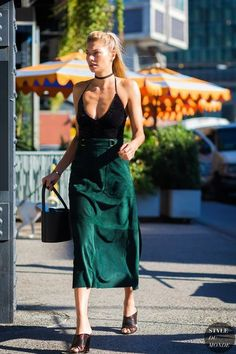 Green slip dress,,mules