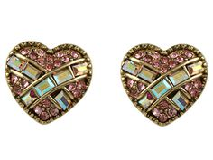 Betsey Johnson Iconic Heart Crystal Stud Earrings Pink/Antique Gold