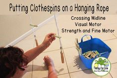 I was looking for an activity that would give a good challenge to the visual motor system as well as challenge fine motor control. I wanted quite a bit of visual motor reaching and grasping while in prone. In one school that I work in, I have access to suspended equipment, which is rare, so …