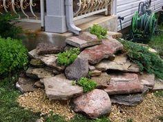 Rain Garden, Lawn And Garden, Rocks Garden, Porch Garden, Garden Steps, Front Yard Gardens, Gutter Garden, Garden Edging, Garden Path