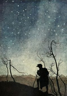 This is an Arthur Rackham picture. I love the simplicity and starkness of the shadows cast against the stars.: