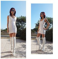 Get this look: http://lb.nu/look/8824639  More looks by Nowaki Selenocosmia: http://lb.nu/nowaki  Items in this look:  White Dress, White Boots   #fetish #futuristic #sexy #white