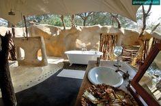 Chongwe River Camp - Lower Zambezi National Park Bathroom Al Fresco? Safari Bathroom, Lodge Bathroom, Tent Living, Outdoor Living, River Camp, Luxury Tents, British Colonial, Outdoor Rooms, Tent Camping