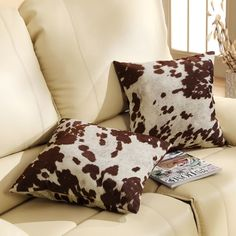 Throw Pillows For Couch Sofa Accent Pillow Set of 2 Cowhide Print Rustic Country #TribeccaHome #CountryRustic