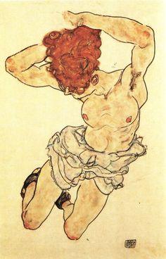 Egon Schiele: Ležící žena s rezavými vlasy, 1917